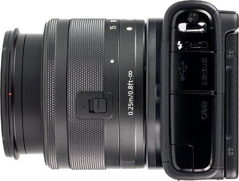 Bild Unter einer Klappe auf der linken Kameraseite befinden sich der Kartenschacht, die USB- und HDMI-Schnittstelle sowie der mechanische Blitzschalter. [Foto: MediaNord]