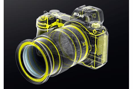 Bild Zahlreiche Dichtungen schützen bei der Nikon Z 6II und Z 7II sowie dem Objektiv Z 24-70 mm F4 S vor dem Eindringen von Spritzwasser und Staub. [Foto: Nikon]