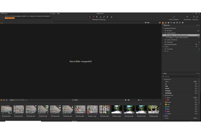 Bild Der Import nimmt bei Capture One Express einige zeit in Anspruch, unter anderem werden Thumbnails für ein flüssiges Arbeiten erstellt. [Foto: MediaNord                              ]