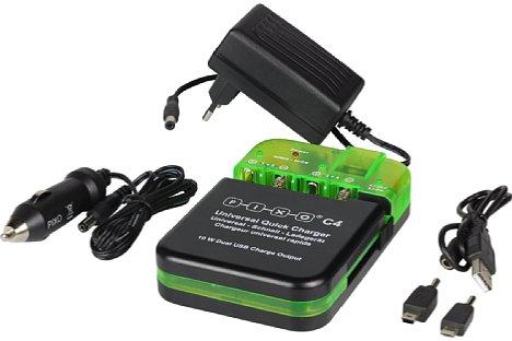 Bild Das umfangreiche Zubehör des Pixo C4 umfasst ein Steckernetzteil, einen 12V-KfZ-Adapter sowie ein USB-Kabel mit verschiedenen Adaptern. [Foto: MediaNord]