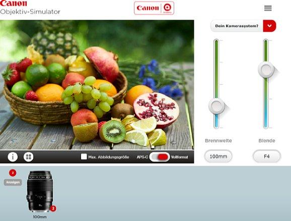 Bild Neben der Brennweite kann auch die Blende eingestellt werden, woraufhin das entsprechende Foto angezeigt wird. [Foto: MediaNord]
