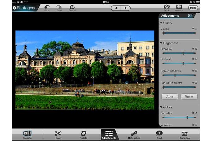 """Bild Unter dem Menü-Punkt """"Adjustments"""" können zahlreiche individuelle Bildkorrekturen ausgeführt werden. Die Seitenleiste kann verschoben und so weitere Funktionen aufgerufen werden. [Foto: Ralf Spoerer]"""