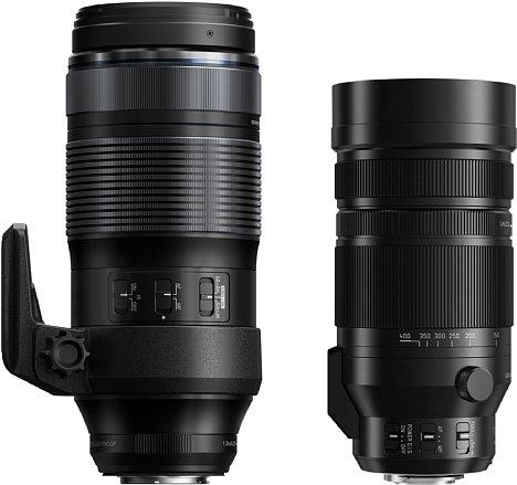 Bild Größenvergleich zwischen dem Olympus 100-400 mm F5.0-6.3 IS ED (links) und dem Panasonic Leica DG Vario-Elmar 100-400 mm 4-6.3 Asph. Power OIS (rechts). [Foto: Olympus / Panasonic]