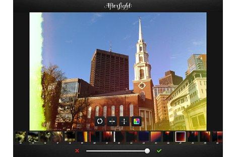 Bild ... sondern auch unterschiedliche Farbeinstellungen. Mehrere Filter können kombiniert werden. Die Effekte können vertikal und horizontal gespiegelt werden. [Foto: Ralf Spoerer]