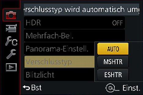 Bild Einstellung des Verschlusstyps (mechanisch oder elektronisch oder automatisch) bei der Panasonic Lumix DMC-FZ1000. [Foto: MediaNord]