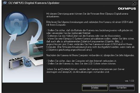 Bild Nach dem Start zeigt der Olympus Digital Camera Updater genau an, was man zu tun hat. [Foto: MediaNord]