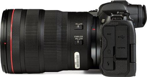 Bild Die Schnittstellenausstattung der Canon EOS R5 ist vielfältig: Neben einem Blitzsynchronanschluss gibt es einen Mikrofonein- und einen Kopfhörerausgang sowie eine 4K-fähige Micro-HDMI-Schnittstelle und einen modernen USB-C-Anschluss. [Foto: MediaNord]