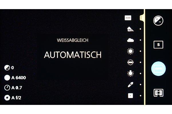 Bild Die Aufnahme-Funktionen können auf dem abgeknickten Teil des Displays der ZX1 ausgewählt und spezifiziert werden. [Foto: MediaNord]