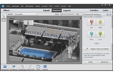 Bild Schwarzweißbilder mit Farbtupfer erzeugt ein neuer Assistent. [Foto: Heico Neumeyer]