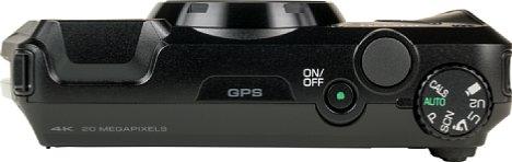 Bild Auf der Oberseite der Ricoh WG-6 befinden sich ein Schalter, der Auslöser und das Moduswahlrad. [Foto: MediaNord]