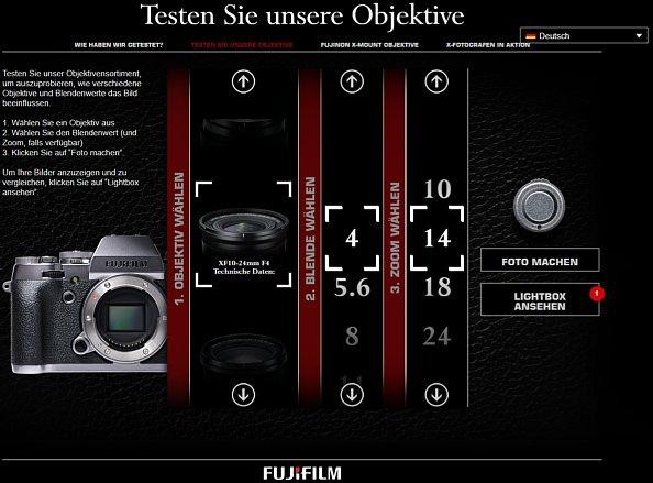 """Bild Der Fujifilm """"Objektivsimulator"""" ist eher eine virtuelle Fotobox mit Vergleichsfunktion. Neben der Auswahl des Objektivs und der Blende lässt sich auch die Brennweite einstellen (Zoom-Objektive). [Foto: MediaNord]"""