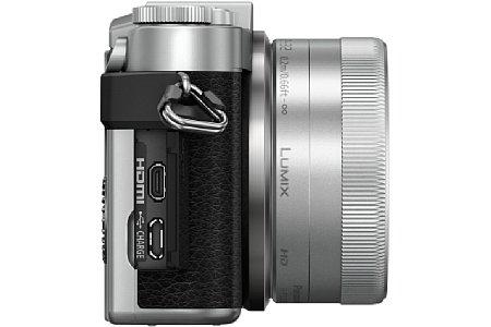 Bild Geladen wird der wechselbare Lithium-Ionen-Akku der Panasonic Lumix DC-GX800 wie viele Smartphones über die Micro-USB-Schnittstelle. [Foto: Panasonic]