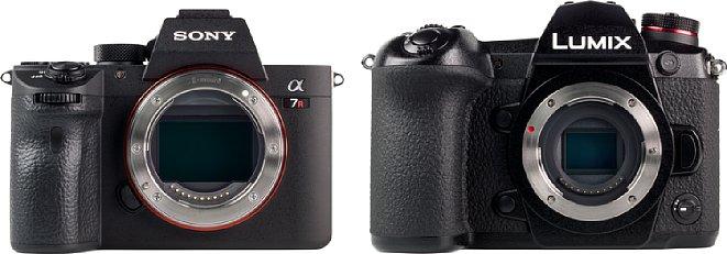 Bild Dass Micro Four Thirds nicht unbedingt eine kleine Kamera bedeutet, zeigt dieser Größenvergleich derPanasonic Lumix DC-G9 (rechts) mit der Vollformatkamera Sony Alpha 7R III (links). Nur die Objektive bleiben bei Micro Four Thirds natürlich kleiner. [Foto: MediaNord]