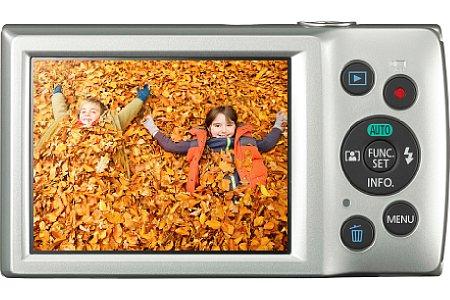 Bild Auf der Rückseite der Canon Ixus 175 sitzt der 6,8 Zentimeter (2,7 Zoll) große Bildschirm mit 230.000 Bildpunkten Auflösung. [Foto: Canon]