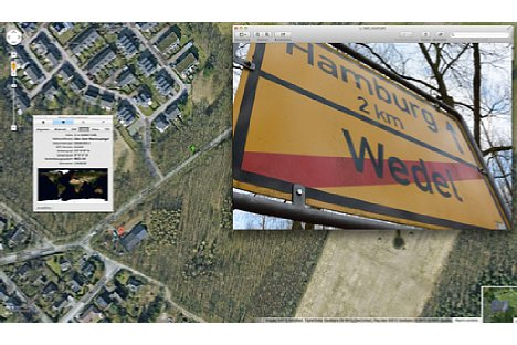 Bild Wie genau der Standort aufgezeichnet wird, zeigt dieses Beispiel: Das Ortsschild steht in Wirklichkeit exakt an der Stelle, die mit dem grünen Pfeil markiert ist. [Foto: Ralf Spoerer]