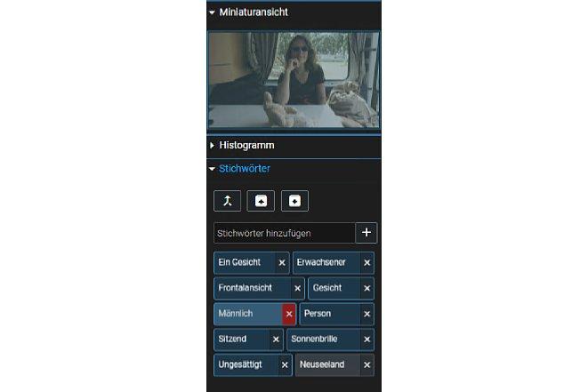 """Bild In diesem Beispiel hat Excire Foto das Geschlecht der Person nicht korrekt erkannt. Mit einem Klick auf das kleine """"x"""" hinter dem Stichwort wird es einfach gelöscht. [Foto: MediaNord]"""