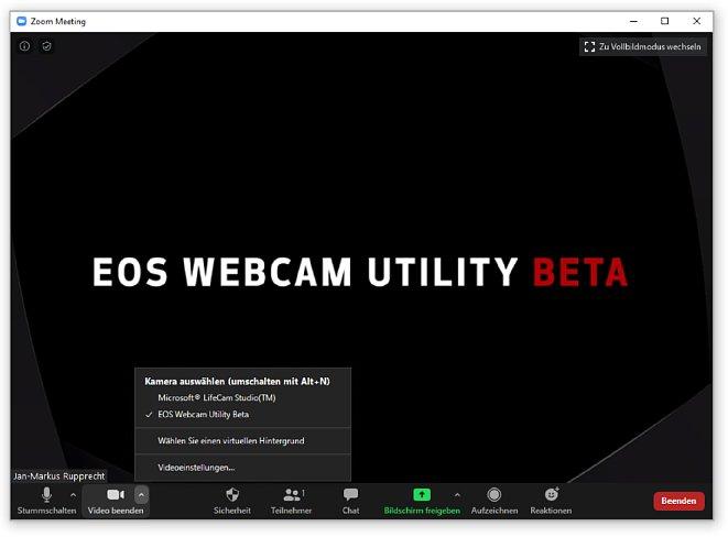Bild Wenn keine Kamera angeschlossen ist oder die angeschlossene Canon-Kamera nicht kompatibel ist, wird statt dem Kamerabild ein Standbild mit dem Schriftzug 'EOS Webcam Utility Beta' angezeigt. [Foto: MediaNord]