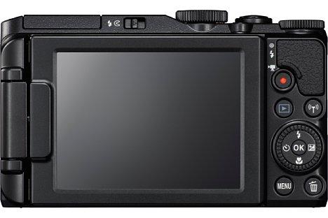 Bild Der rückwärtige 7,5-Zentimeter-Bildschirm der Nikon Coolpix S9900 löst 921.000 Bildpunkte auf und lässt sich drehen und schwenken.. [Foto: Nikon]