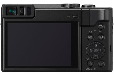 Bild Neben einem 1,2 Millionen Bildpunkte auflösenden Sucher bietet die Panasonic Lumix DC-TZ91 auch einen 7,5 Zentimeter großen Touchscreen mit einer Million Bildpunkten Auflösung, der sich um bis zu 180 Grad nach oben klappen lässt. [Foto: Panasonic]