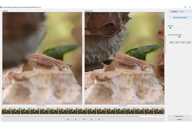 """Bild Mit der Vergrößerungsfunktion können Sie an den Ort des Geschehens gehen und mit """"Pinselstrichen"""" die korrekten Bildbereiche übertragen. [Foto: Medianord]"""