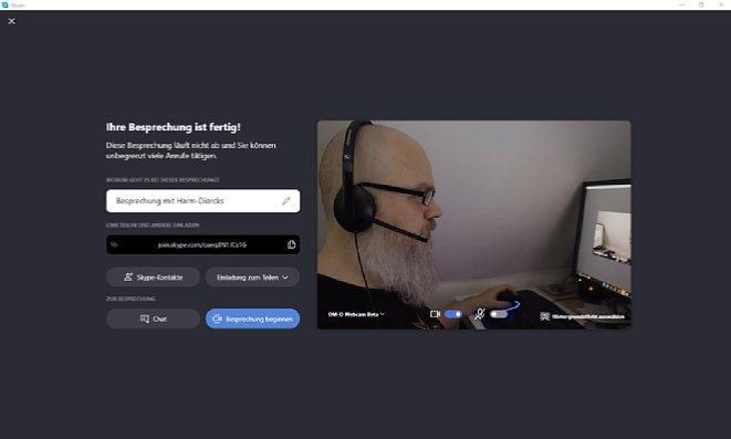 Bild Bei Skype kann die Webcam-Positionierung direkt vor der Besprechungserstellung durchgeführt werden. [Foto: Medianord]
