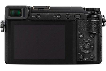 Bild Auf der Rückseite besitzt die Panasonic Lumix DMC-GX80 einen 7,5 Zentimeter großen, eine Million Bildpunkte auflösenden Touchscreen im 3:2-Format. Der 16:9-Sucher löst sogar 2,8 Millionen Bildpunkte auf. [Foto: Panasonic]