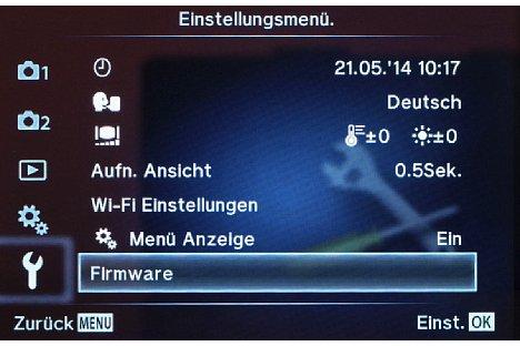 Bild Über das Einstellungsmenü kann, hier bei der Olympus OM-D E-M10, die aktuelle Firmwareversion abgefragt werden. [Foto: MediaNord]
