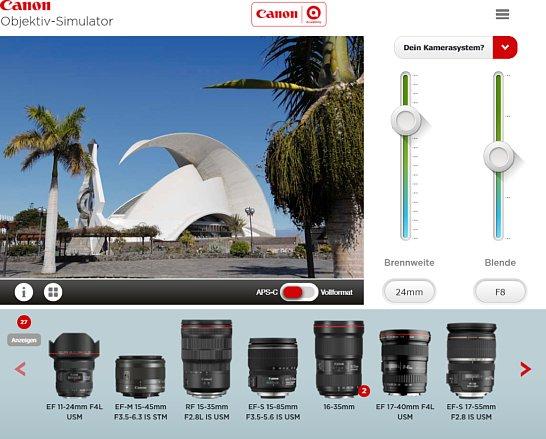 Bild Darüber hinaus zeigt der Canon-Simulator, mit welchen Objektiven sich das gezeigte Ergebnis erreichen lässt. [Foto: MediaNord]