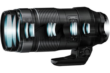 Bild 21 Linsen in 15 Gruppen, darunter zwei HR- und zwei Super-HR- sowie vier ED-Linsen sollen beim Olympus M.Zuiko Digital ED 100-400 mm F5.0-6.3 IS für eine hohe Bildqualität sorgen. [Foto: Olympus]
