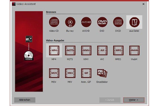 """Bild Der Export-Dialog beinhaltet Voreinstellungen für verschiedene Disc-Brenner sowie """"Containerformate"""". [Foto: MediaNord]"""