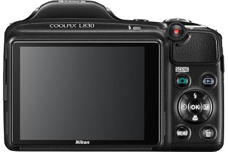Bild Der neigbare 7,5cm-Bildschirm der Nikon Coolpix L830 löst 921.000 Bildpunkte auf. [Foto: Nikon]