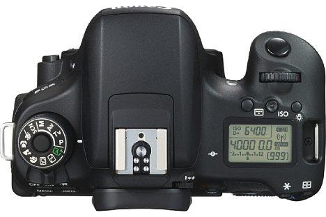 Bild So besitzt die Canon EOS 760D ein verriegelbares Programmwählrad sowie ein kleines Statusdisplay auf der Oberseite. [Foto: Canon]