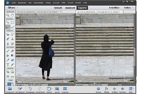 Bild Elements 13 entfernt die Touristin fast perfekt, der komplexe Hintergrund wird gut nach innen fortgeführt. [Foto: Heico Neumeyer]