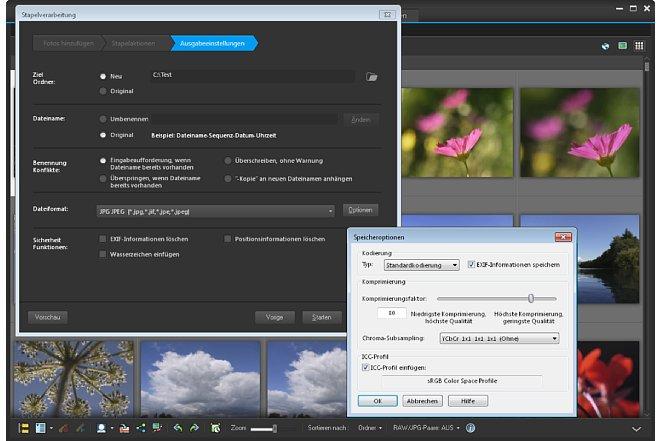 """Bild In den """"Ausgabeeinstellungen"""" entscheiden Sie über Zielordner und Dateiformat. [Foto: Heico Neumeyer]"""