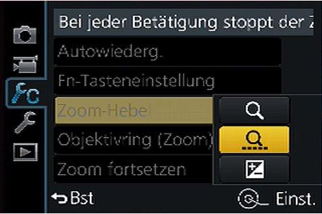 Bild Einstellung des Zoomhebels bei der Panasonic Lumix DMC-FZ1000. [Foto: MediaNord]
