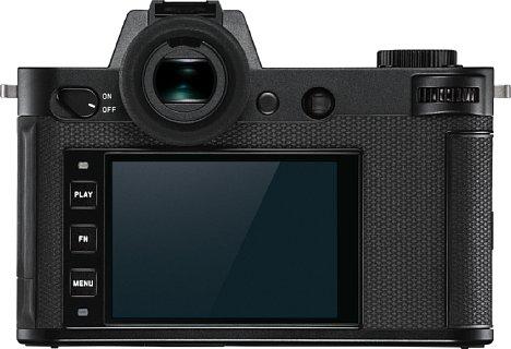 Bild Der rückwärtige Touchscreen der Leica SL2 ist fest verbaut, auch einen hochauflösenden elektronischen Sucher hat sie zu bieten. [Foto: Leica]