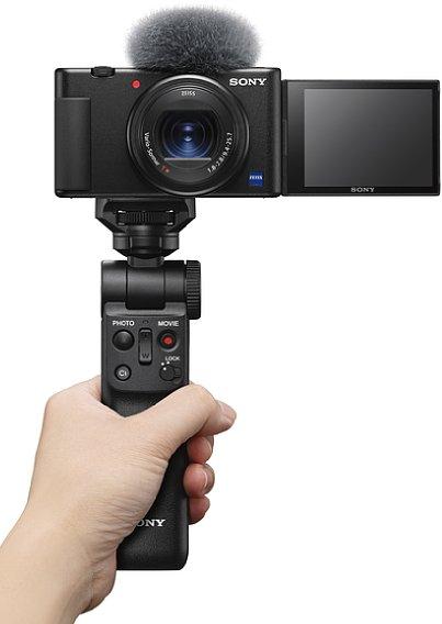 Bild Der optional erhältliche, mit der ZV-1 kompatible Handgriff Sony GP-VPT2BT bietet neben Fernsteuerknöpfen auch eine Stativ- und Grifffunktionfunktion. [Foto: Sony]