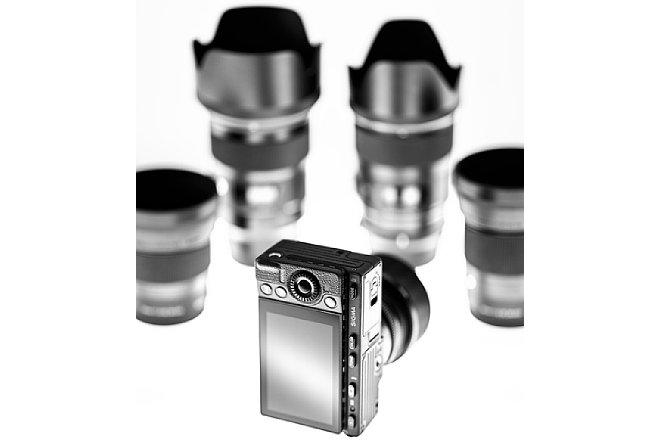 Bild Sigma fp mit einigen Sigma L-Mount-Objektiven. [Foto: Sigma]