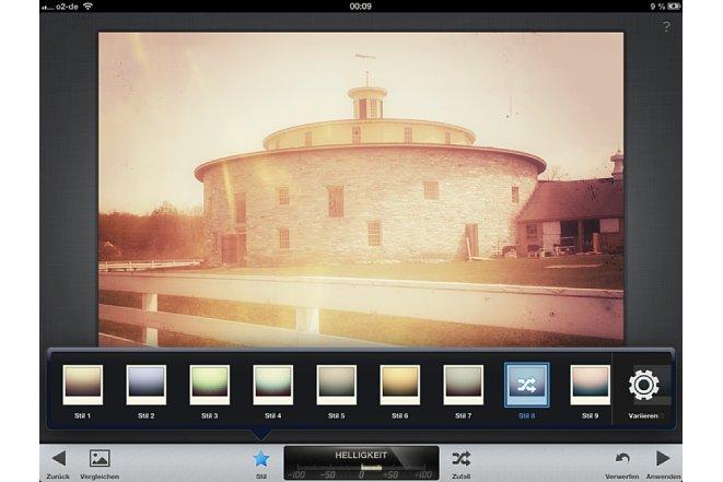 Bild Insgesamt 13 Varianten bietet der Filter Retrolux, um den Fotos einen Retro-Touch zu verleihen. Tippt man mehrfach auf einen Stil, verändert sich das Aussehen jedesmal. [Foto: Ralf Spoerer]