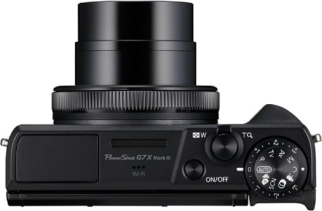 Bild Programmwahl- und Belichtungskorrekturrad sitzen bei der Canon PowerShot G7 X Mark III übereinander auf der Kameraoberseite. [Foto: Canon]