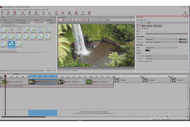 Bild Per Drag and Drop werden Bildeffekte und vorgefertigte Kamerafahrten in das Bild gezogen. [Foto: MediaNord]
