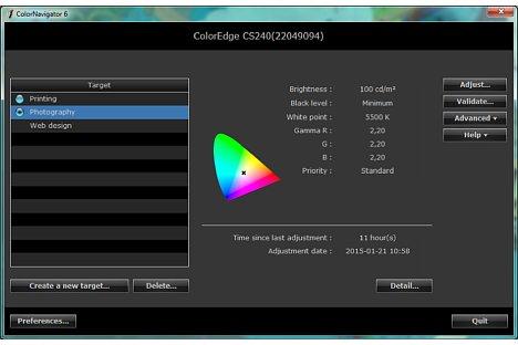 Bild Im ColorNavigator ist die Helligkeit des Fotografie-Target auf 100 cd/m² gesetzt. [Foto: MediaNord]