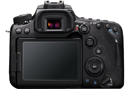 Bild Neu ist der Joystick auf der Rückseite der Canon EOS 90D, der zusätzlich zum gewohnten Multicontroller angebracht wurde. [Foto: CANON INC.]