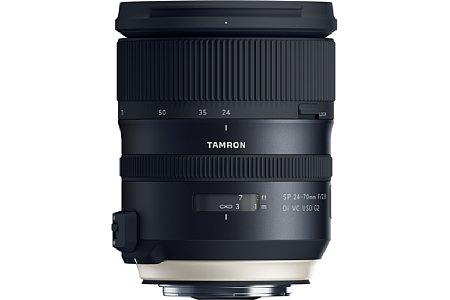 Bild Das Tamron SP 24-70 mm f2.8 Di VC USD G2 (A032), hier mit Canon-Anschluss, verfügt über eine elektromagnetische Blende sowie zwei Prozessoren, um Autofokus und Bildstabilisator unabhängig und effektiver zu betreiben. [Foto: Tamron]