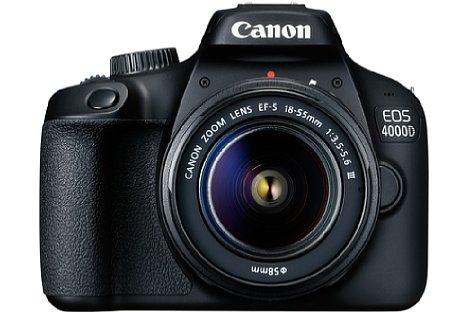 Bild Ab April 2018 soll die Canon EOS 4000D im Set mit dem EF-S 18-55 mm F3.5-5.6 III für knapp 400 Euro erhältlich sein. [Foto: Canon]