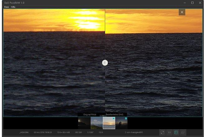 Bild Direkt in PureRaw können die verarbeiteten Bilder mit dem Original verglichen werden. Die Ergebnisse können sich sehen lassen. Beachten Sie bitte, dass die Differenz der Horizontlinie von der optischen Korrektur herrührt. [Foto: MediaNord]