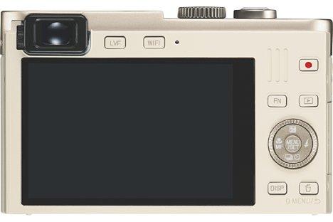 Bild Auf der Rückseite besitzt die Leica C (Typ 112) neben einem 7,5 Zentimeter großen, 921.000 Bildpunkte auflösenden Bildschirm auf einen elektronischen Sucher, der es jedoch nur auf magere 200.000 Bildpunkte bringt. [Foto: Leica]