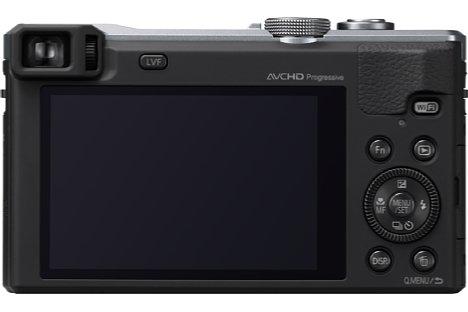 Bild Neben dem 7,5 cm großen, 920.000 Bildpunkte auflösenden Bildschirm besitzt die Panasonic Lumix DMC-TZ61 auch einen elektronischen Sucher mit lediglich 200.000 Bildpunkten, aber immerhin mit Dioptrienkorrektur. [Foto: Panasonic]