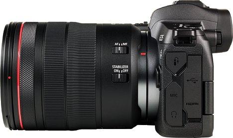 Bild Die Schnittstellenausstattung der Canon EOS R ist vielfältig: Neben einem Fewrnauslöseanschluss gibt es einen Mikrofonein- und einen Kopfhörerausgang sowie eine 4K-fähige Mini-HDMI-Schnittstelle und einen modernen USB-C-Anschluss. [Foto: MediaNord]