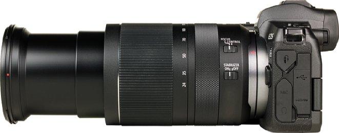 Bild Voll ausgefahren ist das RF 24-240 mm 4-6.3 IS USM über 19 Zentimeter lang. [Foto: MediaNord]